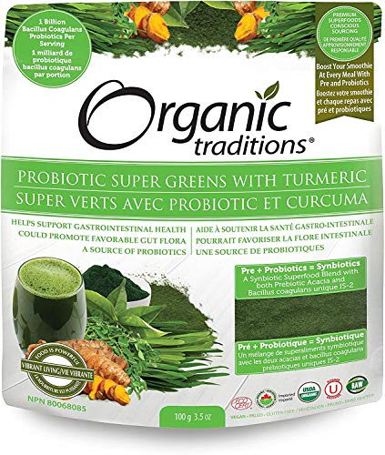 Organic Probiotic Super Greens with Turmeric Powder (21 Servings)
