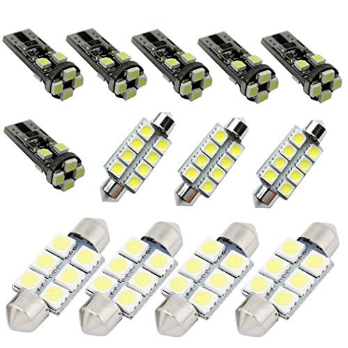 for Volkswagen Golf MK4 5 6 7 GTI Tour Car Interior Light Bulbs LED Dome Lights Map Compact Wedge Xenon Super Bright Chipsets Replacement Bulbs White 13pcs