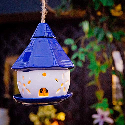 Sungmor Vogelfutterstation aus Keramik, solarbetrieben, Blaue Hütte, Mehrzweck-Gartendekoration, Solarlicht und Vogelfutterstation, Weihnachts- und Halloween-Dekoration