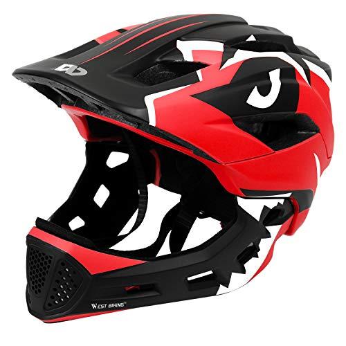 ICOCOPRO Fahrradhelme,Sicherheitsschutz für Kinder, Abnehmbar, Fullface Helm Kinder, für 5-15 Jahre,Passt für Kopfgröße 52-56, Fahrradfahren und Motorradfahren, Knallblau/Rot/Gelb/Blau/Rosa (5Farbe)