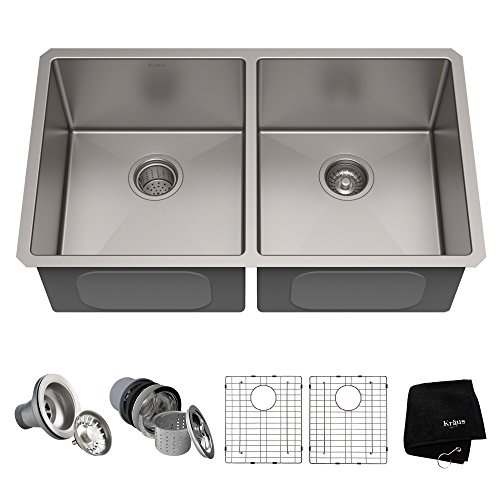 Kraus Standart PRO 33-inch 16 Gauge Undermount 50/50 Double Bowl Stainless Steel Kitchen Sink, KHU102-33