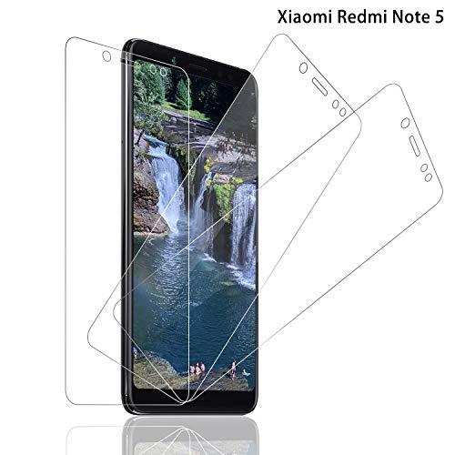 Schutzfolie für Xiaomi Redmi Note 5 Panzerglas [3 Stück], 9H Festigkeit Panzerglasfolie Bildschirmschutz für Redmi Note 5, Anti-Kratzen Schutzglas, Ultra Klar, Bläschenfrei, Redmi Note 5 Bildschirmschutzfolie