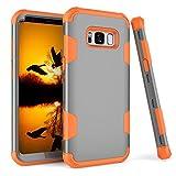Yhuisen Funda Galaxy S8, Shock-Absorption Three Layer Armour Defender [Heavy Duty] Funda protectora híbrida resistente para Samsung Galaxy S8 (Color : Gray Orange)