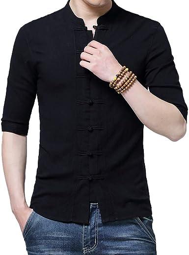 Camisas de los Hombres de los Hombres Tradicionales, Ropa china para los Hombres de la Media Manga de Algodón Lino de Estilo Chino Camisas Kung Fu Tai ...
