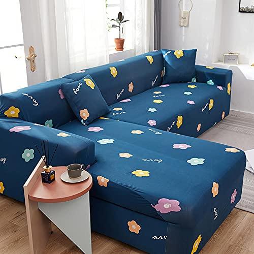 Funda de sofá de Esquina elástica en Forma de L, Funda de sofá con celosía Impresa, Fundas de sofá para Sala de Estar A9, 2 plazas