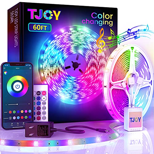 60ftBluetooth LED Strip Lights,SMD 5050 Music Sync LEDLights Strip,RGB Color Changing LED Lights withRemote,Smart Phone APP Control,LED Lights for Bedroom,Ceiling,Room DIY(APP+Remote +Mic/60ftx1)