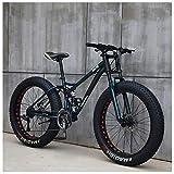 NENGGE Mountain Bikes, 26 Inch Fat Tire Hardtail Mountain Bike, Dual Suspension Frame and Suspension Fork All Terrain Mountain Bike,27speed,GreenSpoke