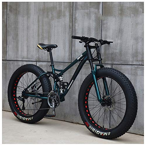 NENGGE Mountain Bikes, 26 Inch Fat Tire Hardtail Mountain Bike, Dual Suspension Frame and Suspension Fork All Terrain Mountain Bike,27speed,GreenSpoke
