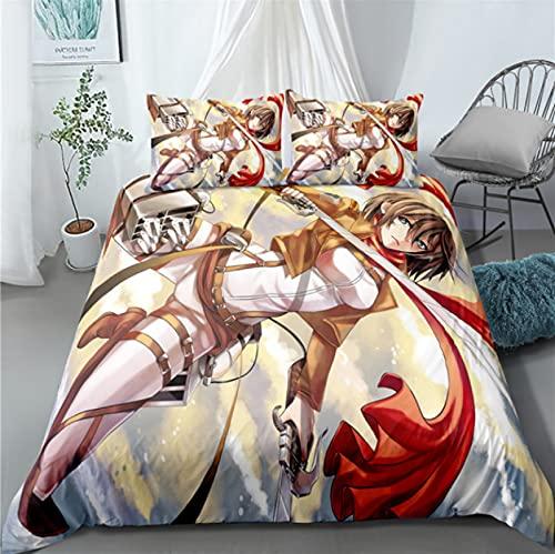 ysldtty 3D Bedding Set Anime Attack On Titan Home Textile Pillow Case 3D Bed Linen Duvet Covers Kids Comforter H3022U 135CM x 200CM With 2 pice pillowcase 50CM x 75CM