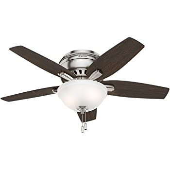 Hunter 51082 Newsome Indoor Low Profile Ceiling Fan With Led Light And Pull Chain Control 42 Brushed Nickel Amazon Com