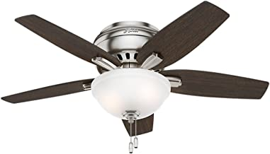 Hunter Indoor Low Profile Ceiling Fan with light and pull chain control - Bowl 42 inch, Brushed Nickel, 51082