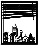 Wandtattoo Skyline Lingen Stadt Fenster Briefmarke Marke Wand Aufkleber Türaufkleber Möbelaufkleber Autoaufkleber Wohnzimmer 5M216, Farbe:Königsblau Matt, Hohe:65cm