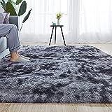 Rainlin Super Soft 5'x8' Shaggy Area Rug for Living Room Bedroom Fuzzy Abstract Modern Plush Soft Carpet Extra Comfy Fluffy Nursery Shag Rug Tie Dye Rug,Dark Grey