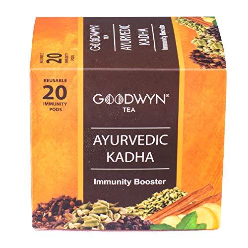 Goodwyn Tea Ayurvedic adha Tea   Immunity Boosting Traditional Indian adha Recipe   Made with 7 Powerful Ayurvedic Herbs   Caffeine Free   Pack of 20 Tea Bags (Staple Free)