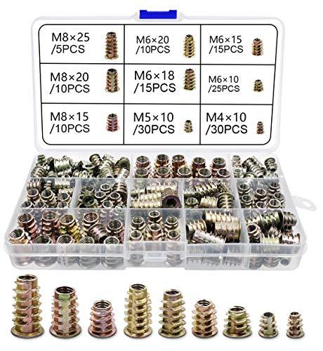 Gewindeeinsatz Holz Einschraubmutter M4 M5 M6 M8 Innensechskantmuttern für Holz Möbel (150pcs)