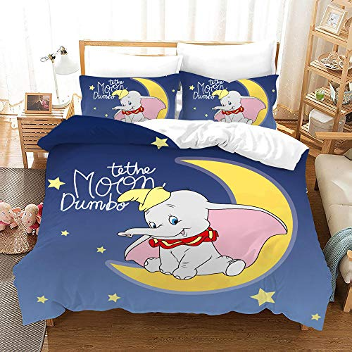 chenyike Dumbo Duvet Cover Sets Double Bed 200 x 200 cm 3 pcs Microfibre Bedding with Zipper Closure 1 Duvet Cover Set + 2 Pillowcase 50 x 75cm Ultra Soft Hypoallergenic