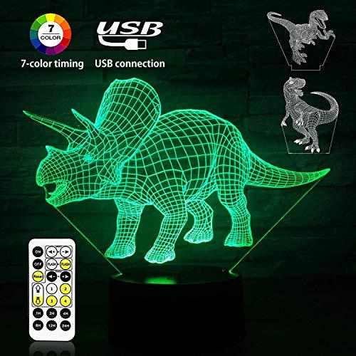 Luz de Noche de Dinosaurio 3D, Lámpara de Ilusión 3D Tres Patrones de Dinosaurio, 7 Control de Control Remoto de Lámpara de Noche de Dormitorio que Cambia de Color, Mejor Regalo para Niños (Carga USB)