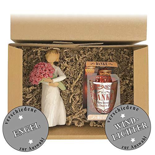 Geschenkset 2-teilig/Willow Tree Figur zur Auswahl/Windlicht zur Auswahl/Danke/Muttertag/Geburtstag/Geschenk/Frauen, Windlichter:-Danke **, Figur/Engel:Figur Lots of Love