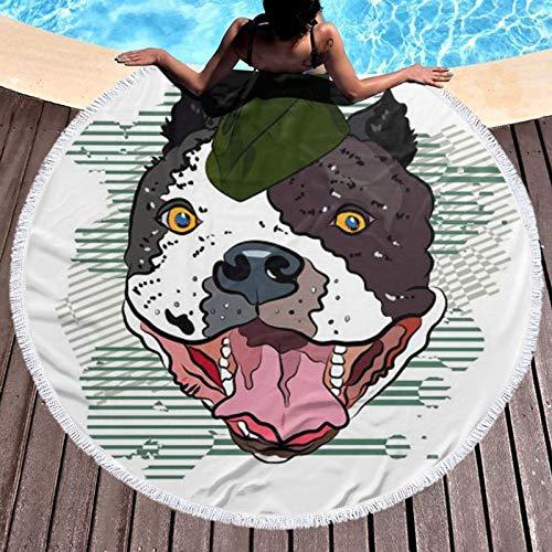 Bulldog In Baseball Cap Impreso Ronda Toalla de Playa Yoga Picnic Mat Mantel Redondo Ultra Suave Super Absorbente Agua Toalla Terry Con Borlas