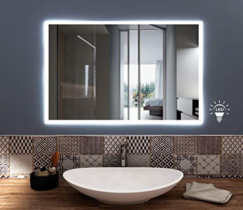 styleglass Specchio Bagno Rettangolare Personalizzabile Babel 60x80cm, Specchio Parete Made in Italy, Telaio in PVC e Squadrette in Lamiera, Kit Fissaggio Murale Incluso, Grado di Protezione IP20