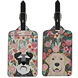 Coloranimal Kawaii Schnauzer& Labrador Floral Pattern Luggage Tags 2 Piece Set for Outdoor Travel Business Vacation Credit Name Cards Holders