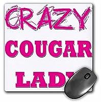 3drose LLC 8x 8x 0.25インチマウスパッドCrazy Cougar Lady (MP 174998_ 1)