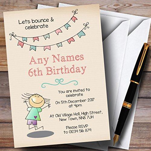 Kinderfeest nodigt schattige Trampoline Kids Verjaardagsfeestjes uit met Enveloppen - Elke aangepaste tekst voor elke gelegenheid 90 Cards & Envelopes