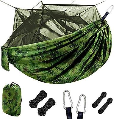Grassman Bug Net Camping Hammock, Single Camping Hammock with Tree Ropes, Portable Parachute Nylon Hammock for Indoor and Outdoor Camping, Backpacking, Travel, Hiking, Beach