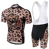 Spoz Men Cheetah Wild Cycling Gel Pad Bid Jersey Set XXL