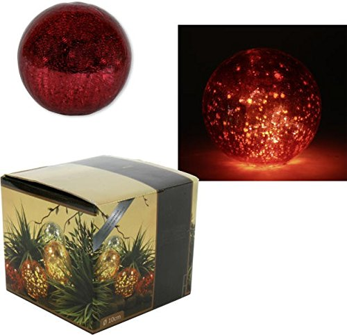 Boule de Noël XXL rouge avec LED Diamètre 10 cm