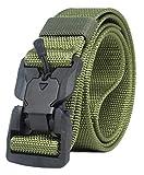 Longwu Hebilla súper magnética Lona de nylon de liberación rápida Cinturón táctico militar transpirable para hombres y mujeres con hebilla de plástico Ejercito verde