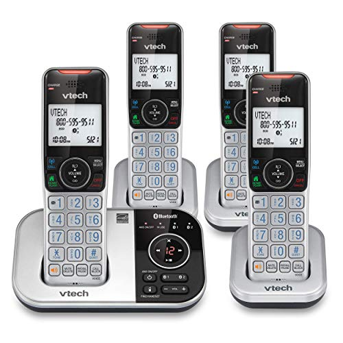 VTech VS112-4 DECT 6.0 Bluetooth 4 Handset Cordless Phone for Home with Answering Machine, Call Blocking, Caller ID, Intercom and Connect to Cell (Silver & Black) (Renewed)