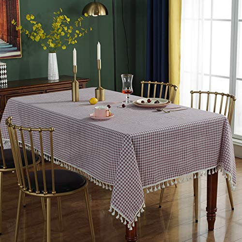 WSJIABIN Home Decoration TableclothJapanese and Korean Cotton and Linen Small Fresh Purple Plaid Tassel Tablecloth Restaurant Cafe Party Banquet Decoration Tablecloth 140 * 220CM