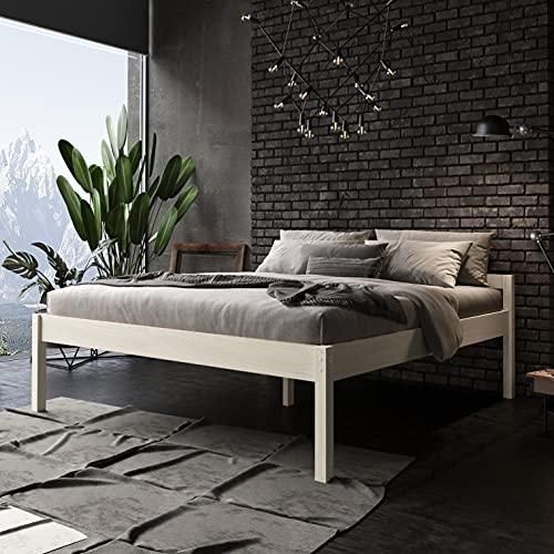 Seniorenbett 180x200 cm Triin Scandi Style aus hartem FSC Birken Massivholz - über 700 kg - Holzbett 55 cm hoch mit Kopfteil - Stabiles Doppelbett für Senioren - Ehebett