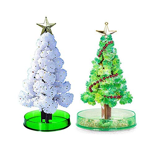 Puomue 2 PCS Magic Growing Christmas Tree, Grow Two Christmas Trees in Just 6 Hours with This Crystal Growing Kit for Kids, Best Gift for Boys and Girls