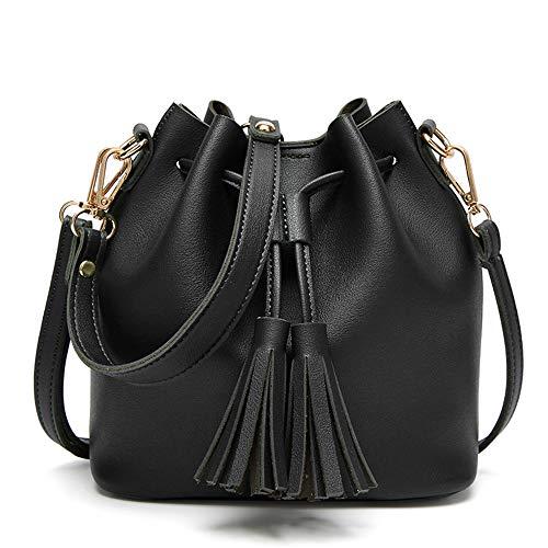 Qi Womens Mini Bucket Bag Leather Drawstring Purse Tassel Crossbody Shoulder Bag,FYG