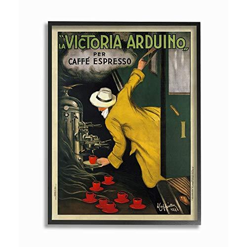 Stupell Industries La Victoria Arduino Cafe Espresso Vintage Inspired Poster Black Framed Wall Art, 16 x 20, Design by Artist VeeBee