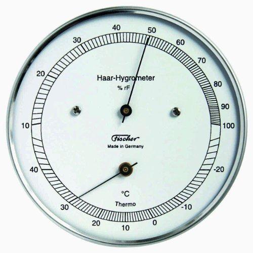 Fischer 111.01T Echthaar-Hygrometer mit Thermometer, Edelstahlgehäuse, ø 103 mm