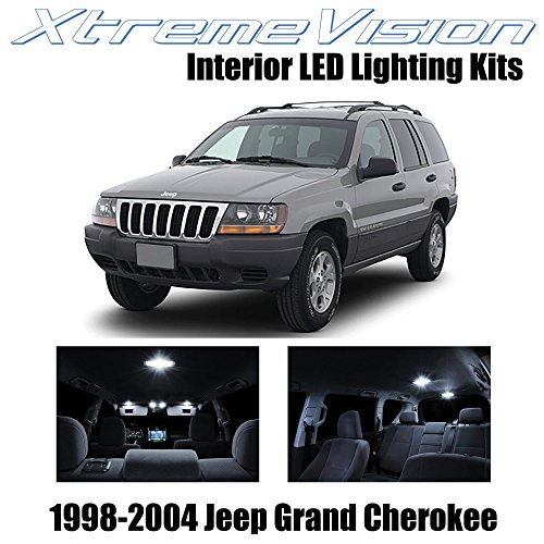 Xtremevision Interior LED for Jeep Grand Cherokee 1998-2004 (12 Pieces) Pure White Interior LED Kit + Installation Tool