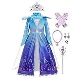 Disfraz de Elsa Anna para niñas, disfraz de princesa hielo/reina de nieve, cosplay con accesorios para Halloween, Navidad, carnaval, fiesta de cumpleaños, rendimiento para niños de 3 a 14 años