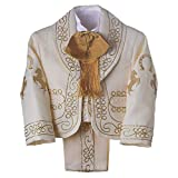 Details and Traditions Beige & Gold Boys Charro Outfit | Traditional Catholic Baptism Attire | Mexican Charro Garment | 3 Years