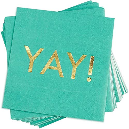 Blue Panda Yay Cocktail Napkins, Party Supplies (5 x 5 in, Teal, 50-Pack)
