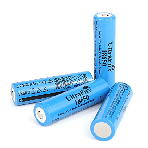 UltraFire Battery 3.7V Li-ion Rechargeable Battery 2200mAh Batteries Button Top(4 Pack)