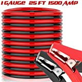 Heavy Duty Jumper Battery Cables 1 Gauge 1500 A 25 Ft Booster Jump Start Quick Connect Clamps, 1 Year Warranty