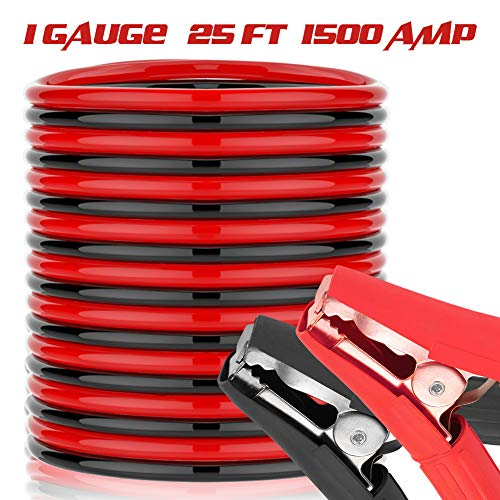 25 Feet Jumper Cables - 1500A 1 Gauge Heavy Duty Booster Jump Start Cable with Quick Connect Clamps