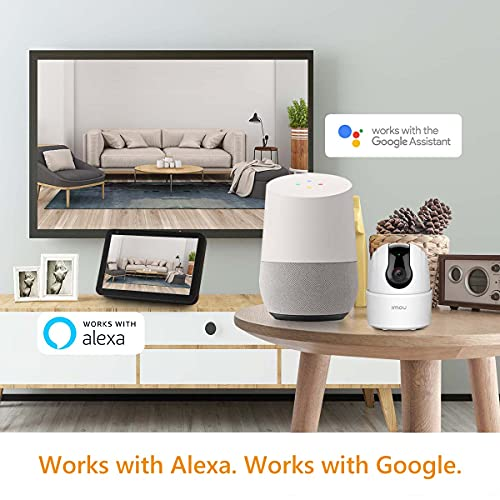 Imou 360 Degree WiFi Security Camera (White), Up to 256GB SD Card Support, 1080P Full HD, Privacy Mode, Alexa Google Assistant, Motion Detection & Human Detection, 2-Way Audio, Night Vision
