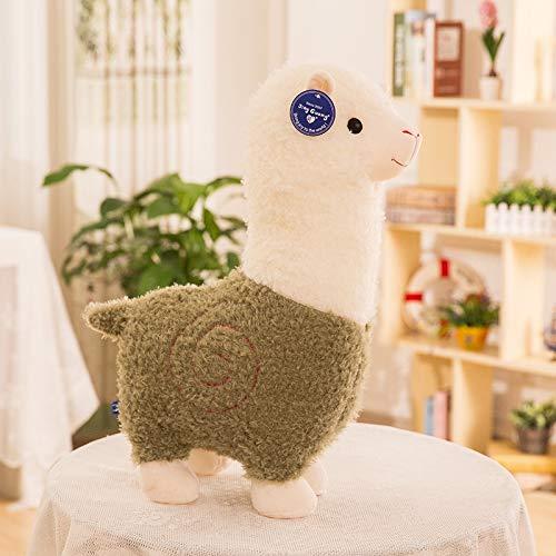 siyat Neue 28-80cm Alpaka Plüschtier-Spielzeug Alpaka Große Kissen Puppe Kreative langhaarige Puppe Puppe Spielzeug Jikasifa (Color : Green, Size : 55 cm)