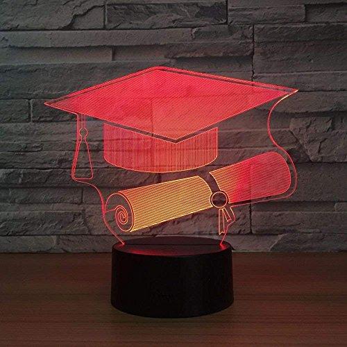 3D LED-nachtlampje als cadeau voor studenten, scholieren, hoed, 3D-lamp, LED-nachtlampje, LED-tafellamp met USB-tafellamp in de vorm van een muts