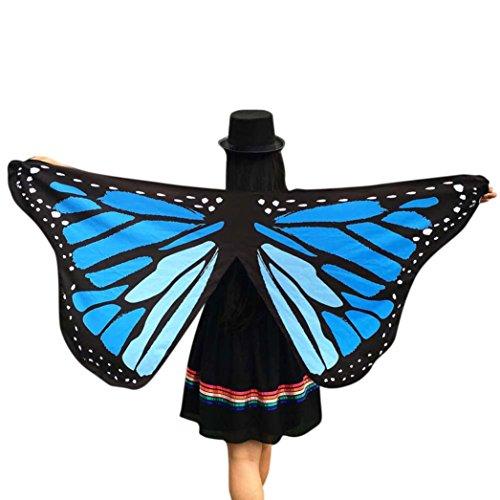 style_dress Frauen Butterfly Wings Schmetterlingsflügel Schals Nymphe Pixie Poncho Für Bauchtanz Tanz Schleier Flügel Zubehör Tanzen Kostüm Bauchtanz Fasching Karneval (Blau)