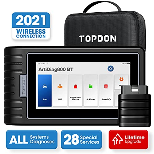 TOPDON ArtiDiag800BT Car Diagnostic Tool, All Systems Scan Tool with 28 Maintenance Services, obd2 wireless diagnostic scanner, Oil Reset/EPB/SAS/TPMS, AutoVIN, Free Lifetime Upgrade